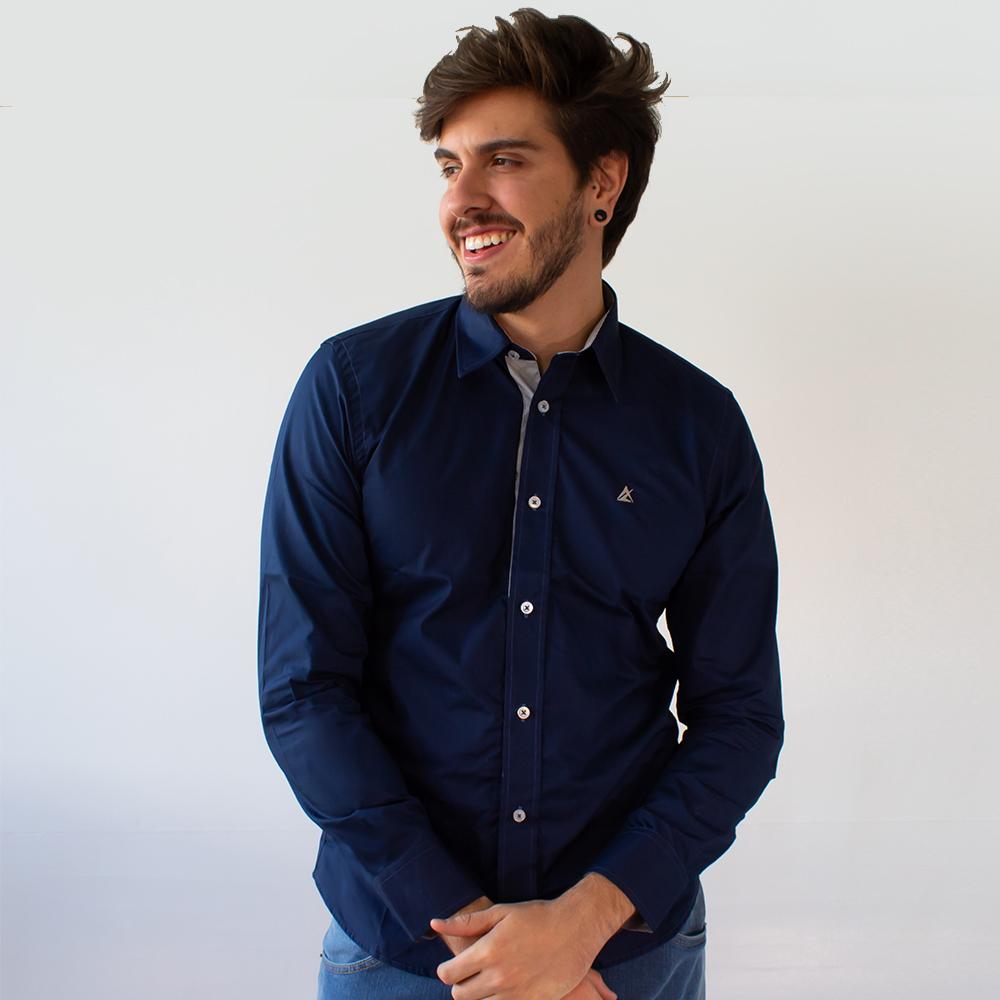 Camisa Social Masculina Marinho Manga Longa Algodão Anticorpus