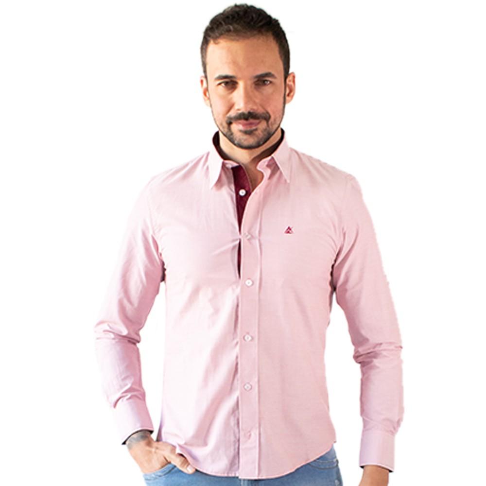 Camisa Social Masculina Rosa Claro Manga Longa Algodão Anticorpus