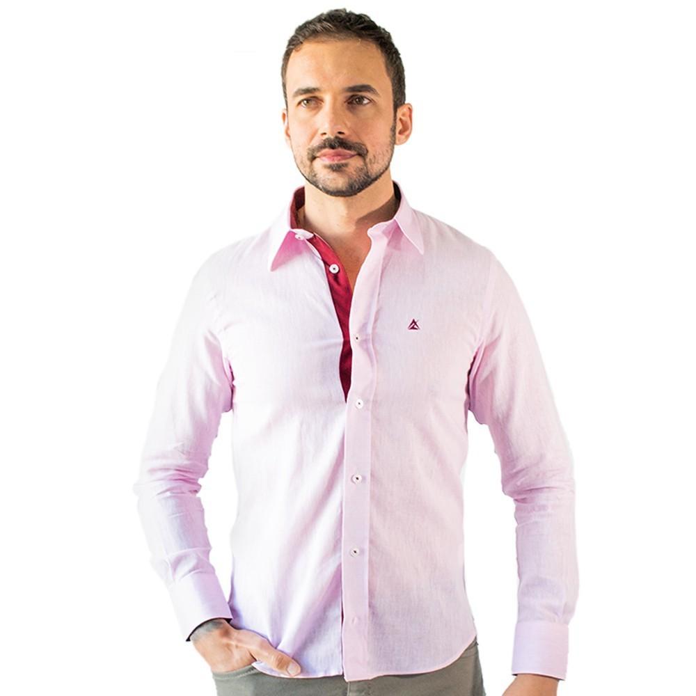 Camisa Social Masculina Rosa Manga Longa Linho Algodão Anticorpus