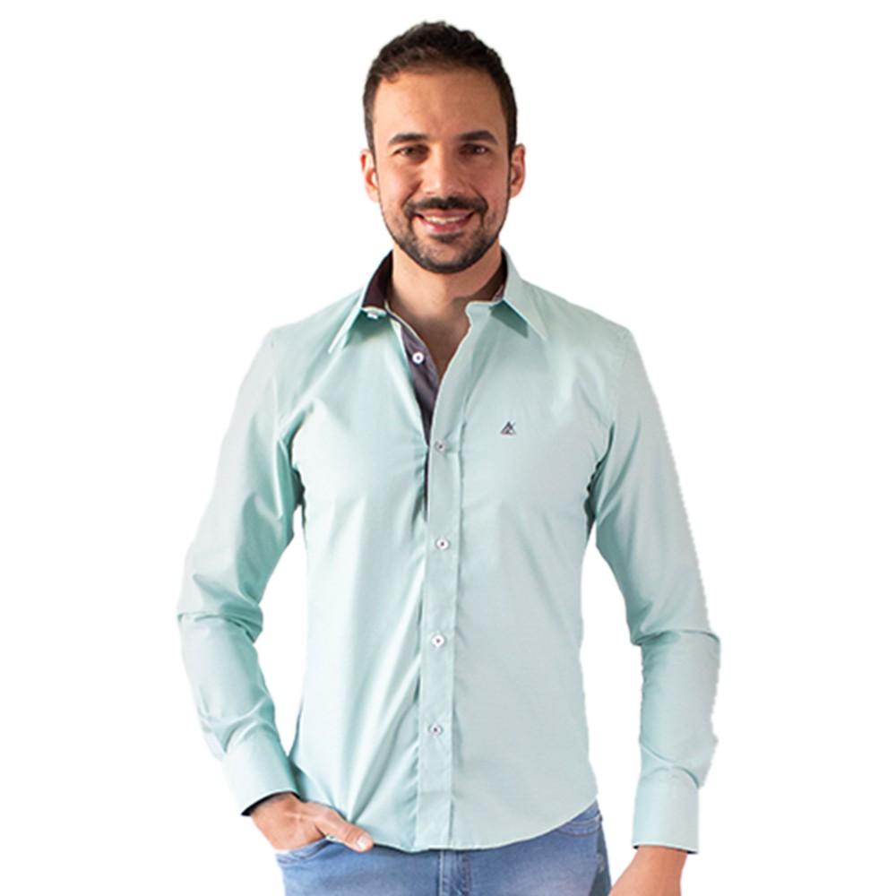 Camisa Social Masculina Verde Manga Longa Algodão Anticorpus