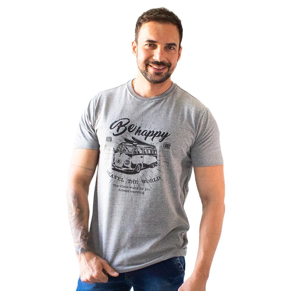 T-Shirt Masculina Estampa Be Happy Várias Cores Anticorpus