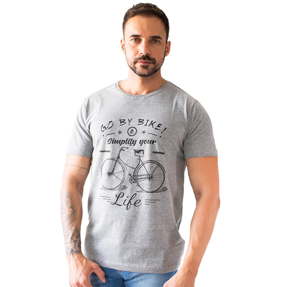 T-Shirt Masculina Estampada Go By Bike Anticorpus