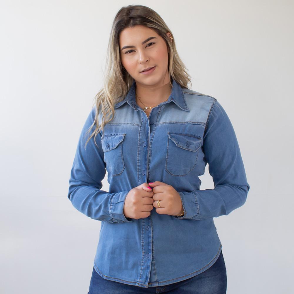 Camisete Jeans Feminina Manga Longa Clara Anticorpus