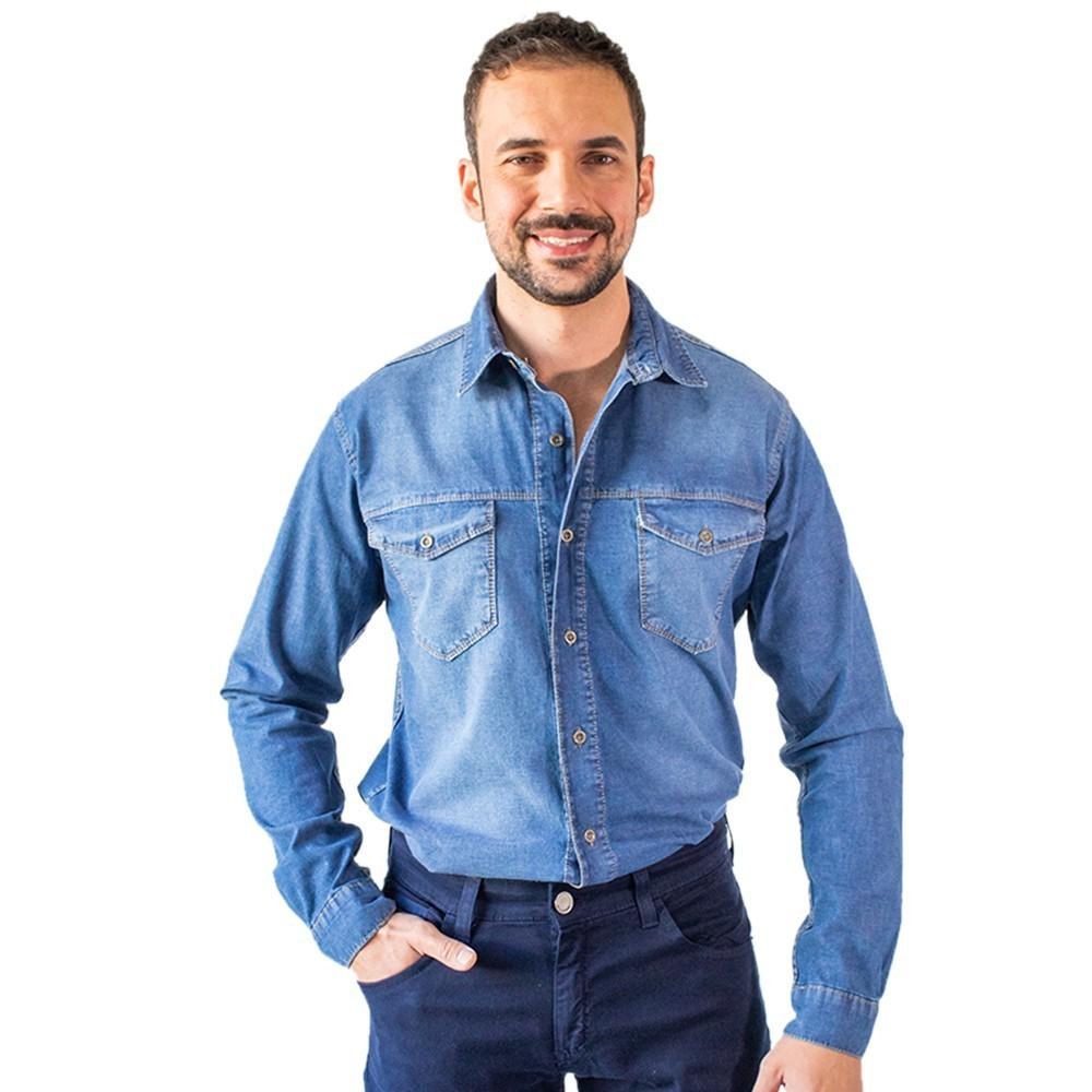 Camisete Jeans Masculina Manga Longa Algodão Elastano Anticorpus