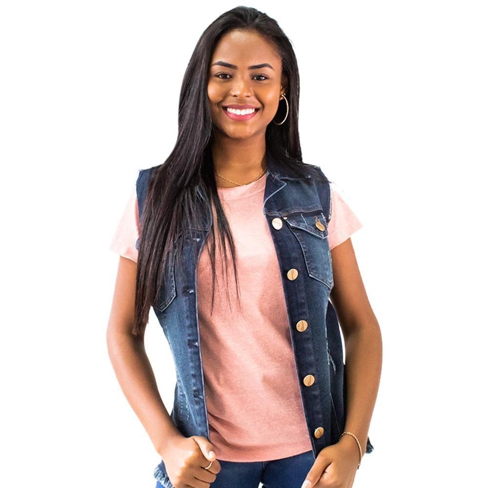 Colete Feminino Jeans Escuro Midi Puídos Anticorpus