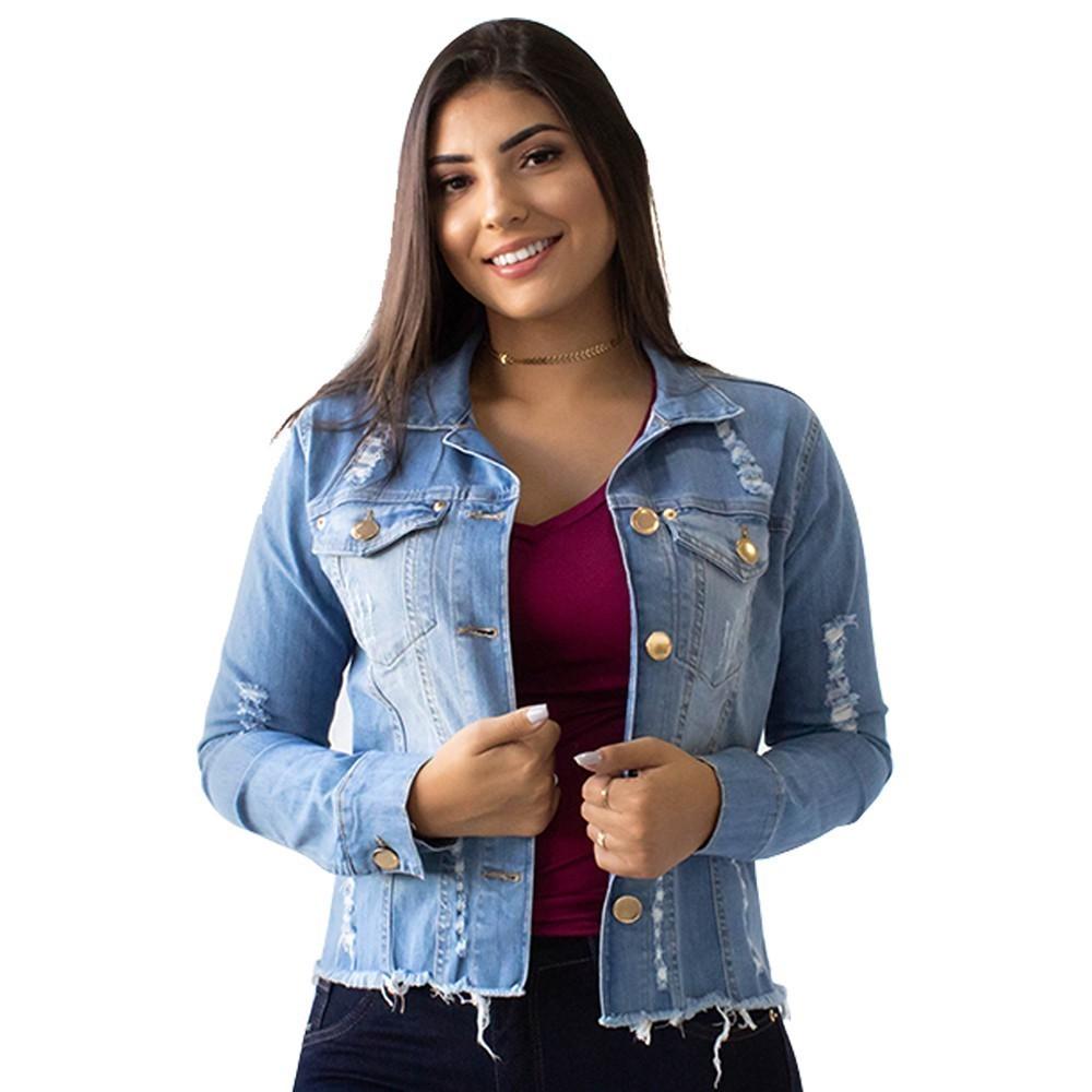 Jaqueta Jeans Feminina Destroyed Algodão Elastano Anticorpus