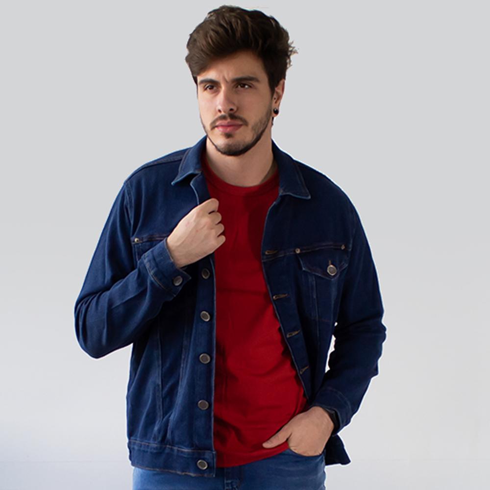 Jaqueta Jeans Tradicional Masculina Azul Escuro Anticorpus