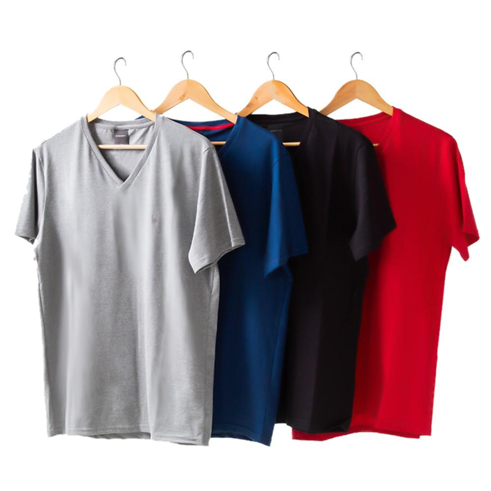 Kit 4 Camiseta Masculina Básica Gola V Manga Curta Algodão Anticorpus