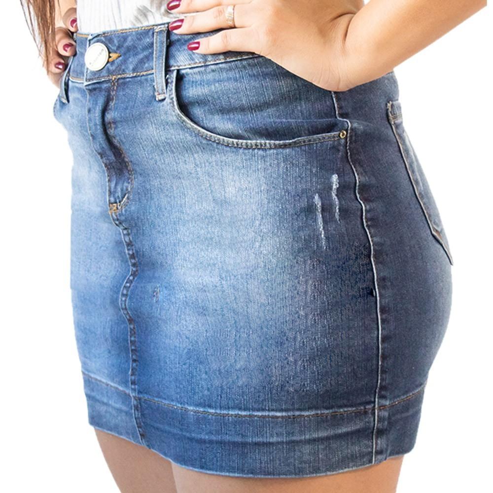 Saia Feminina Jeans Curta Bolsos Puídos Anticorpus