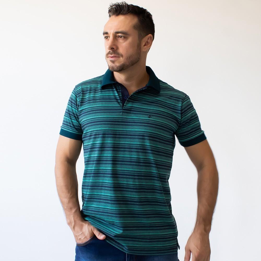 Camisa Polo Listrada Tradicional Várias Cores