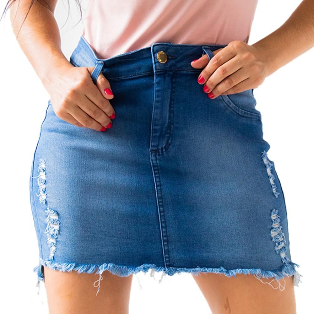 Saia Curta Feminina Jeans Destroyed Anticorpus