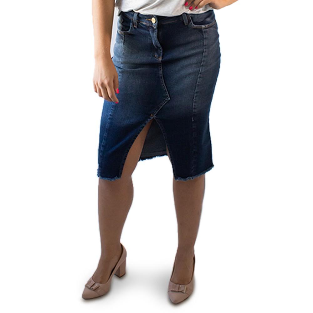 Saia Feminina Midi Jeans Escuro Fenda Elastano Anticorpus