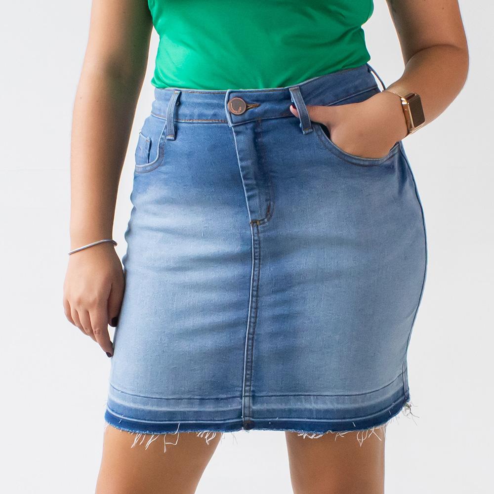 Saia Jeans Feminina Barra Marcada Desfiada Anticorpus