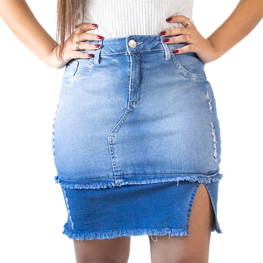 Saia Jeans Feminina Midi Destroyed Fenda Recorte Anticorpus