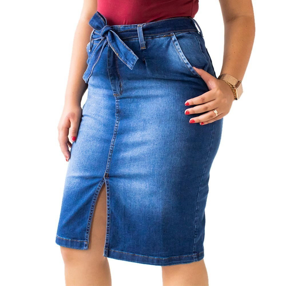 Saia Midi Jeans Feminina Fenda Frontal Cinto Anticorpus