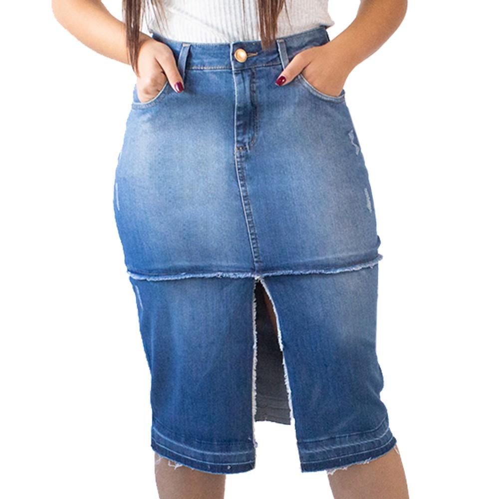 Saia Midi Jeans Feminina Fenda Frontal Desfiada Anticorpus