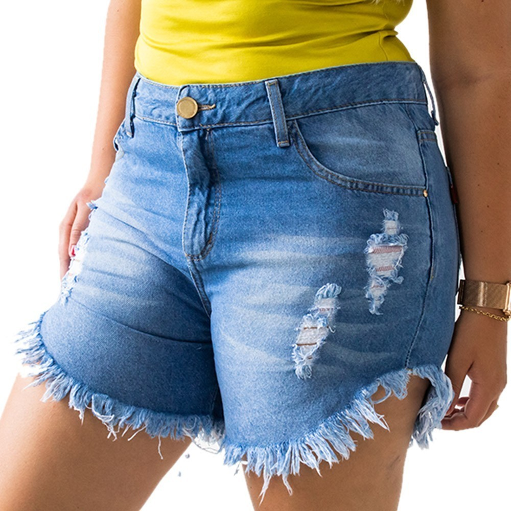 Short Destroyed Jeans Barra Desfiada Feminino Alta Anticorpus