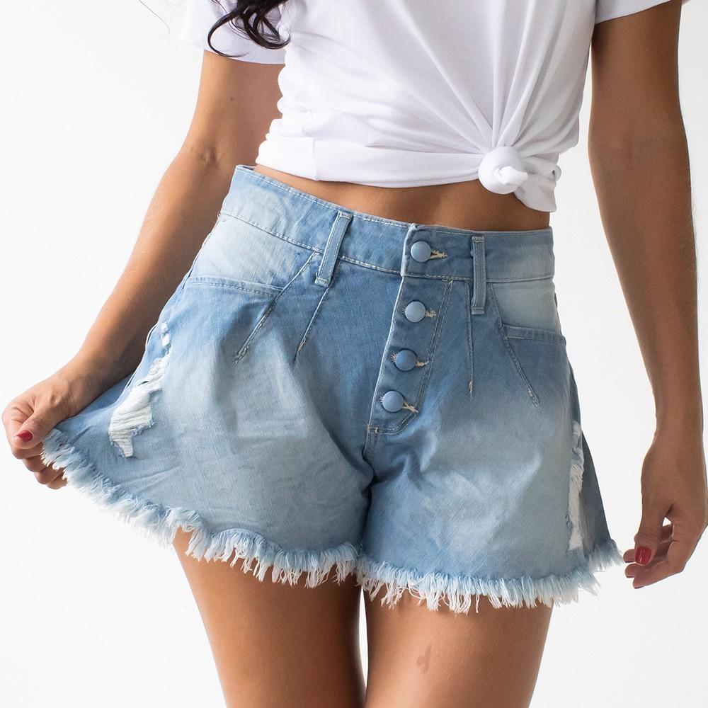 Short Godê Jeans Claro Feminino Barra Desfiada Destroyed Anticorpus