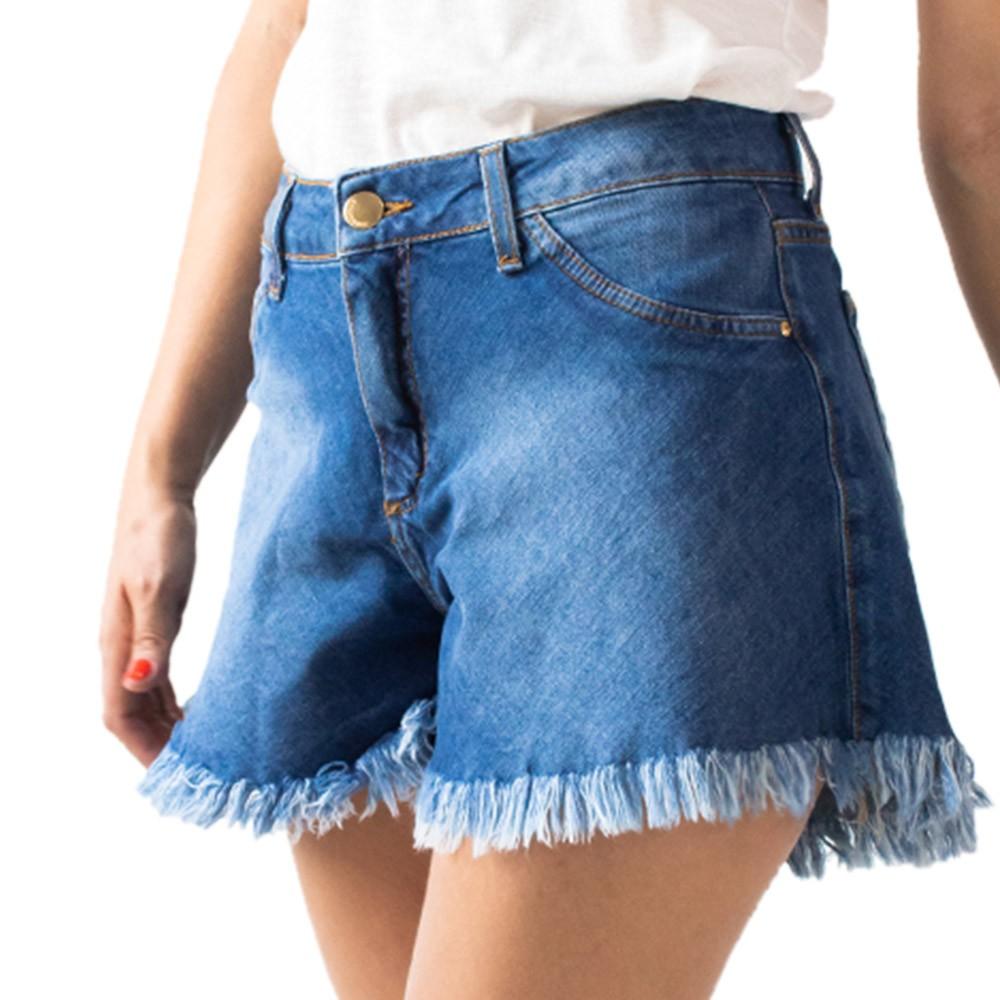 Short Godê Jeans Feminino Alto Barra Desfiada Anticorpus