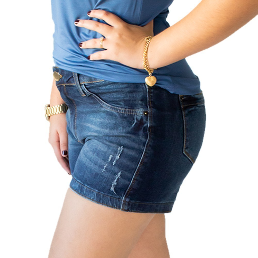 Short Jeans Feminino Plus Size Cintura Média Elastano Anticorpus