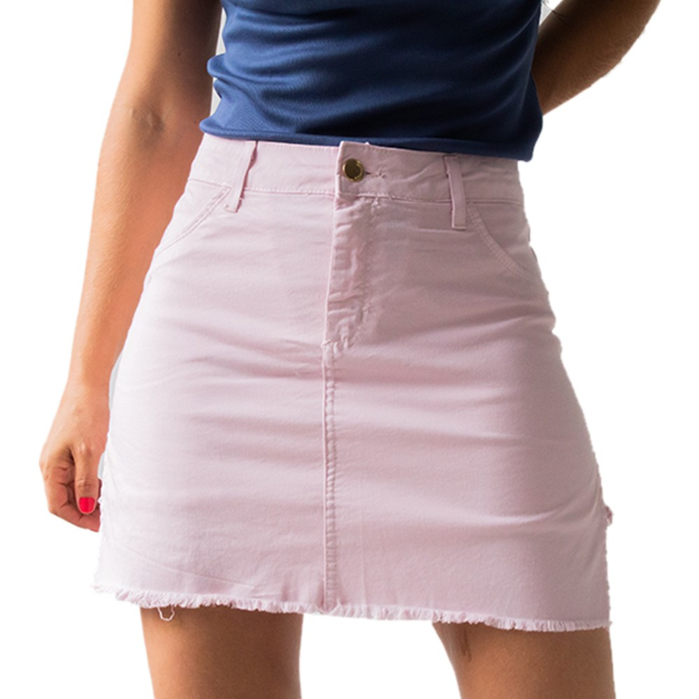 Short Saia Sarja Feminino Media Barra Desfiada Anticorpus