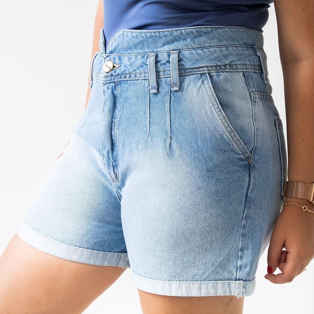Shorts Mom Jeans Claro Feminino Cintura Média Anticorpus