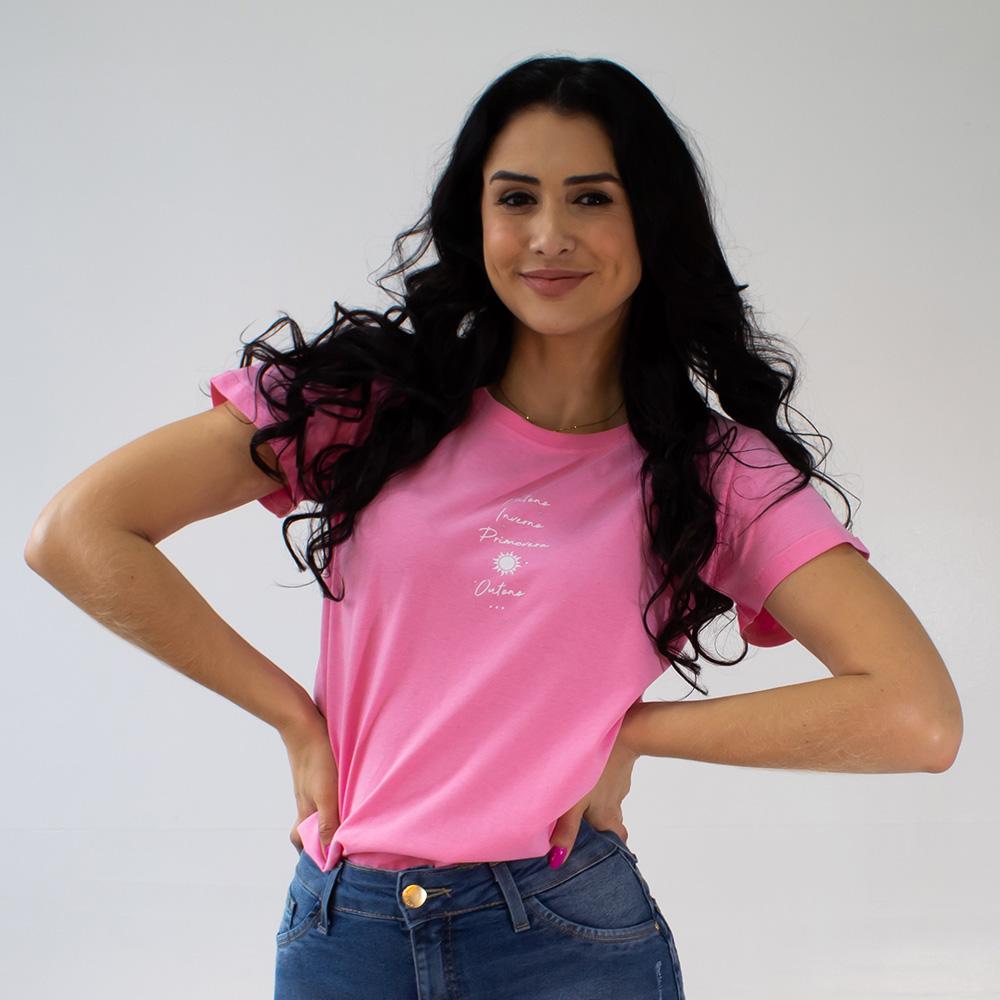 T-Shirt Feminina Barra Manga Invertida Algodão Anticorpus