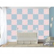Papel de Parede Autocolante Infantil Quadrados Rosa e Azul