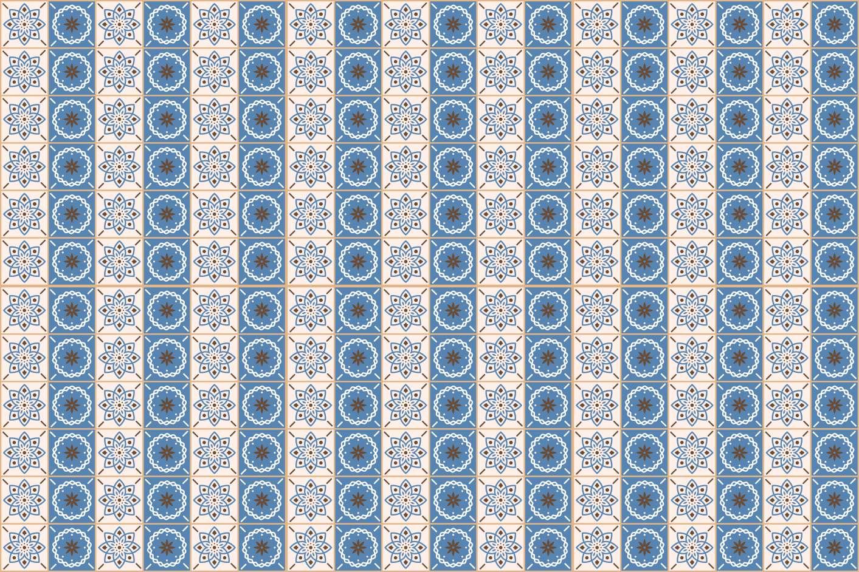 Papel de Parede Autocolante Azulejo Fundo Branco e Azul