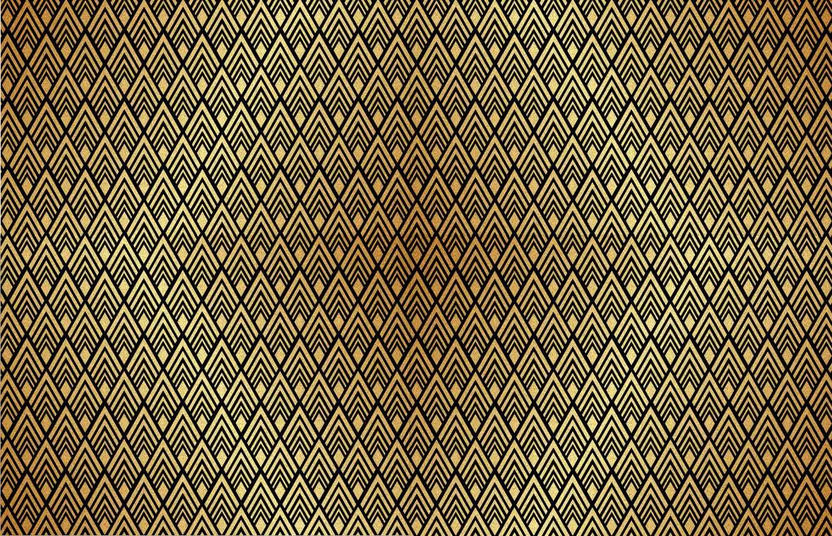 Papel de Parede Autocolante Clássico Preto com Dourado