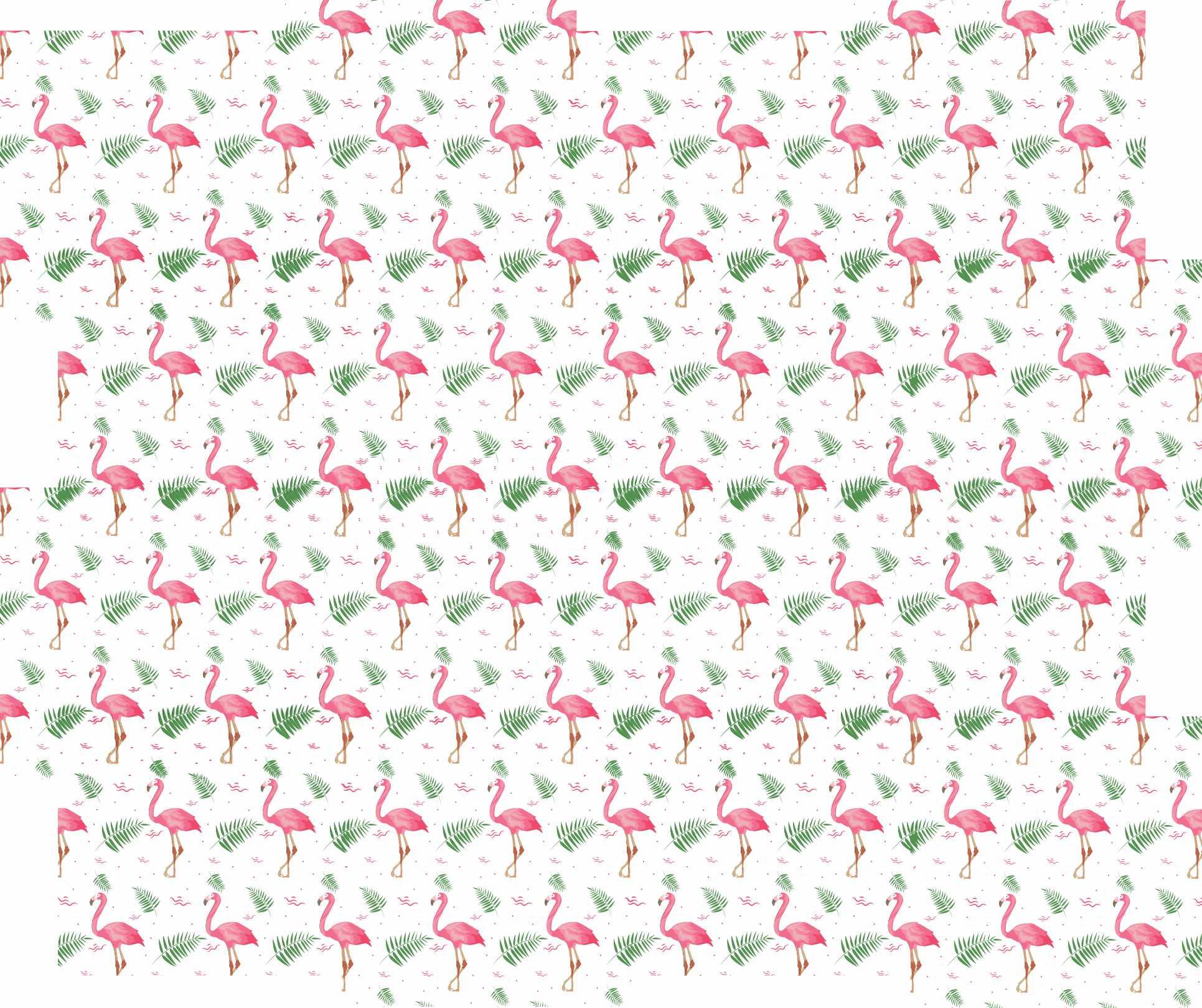 Papel de Parede Autocolante Flamingo Fundo Branco