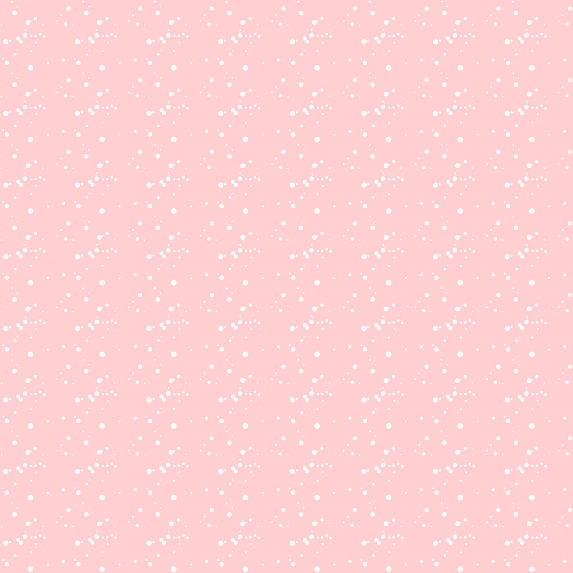 Papel de Parede Autocolante Fundo Rosa e Pingos Brancos
