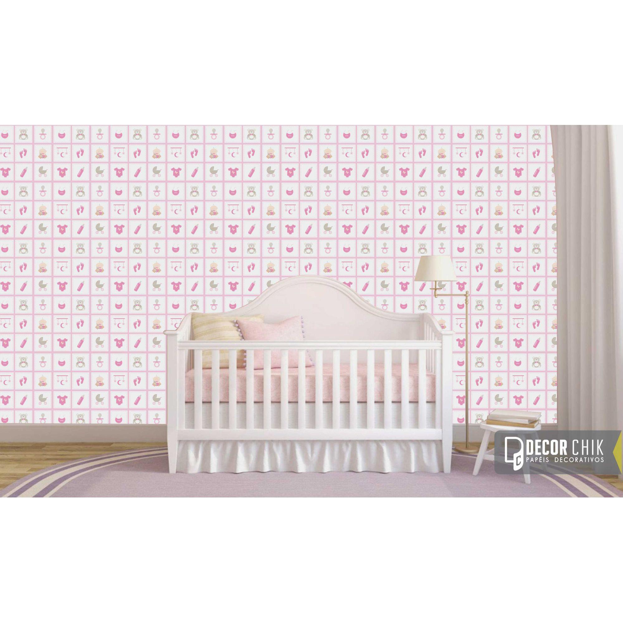 Papel de Parede Autocolante Infantil Bebê Fundo Rosa