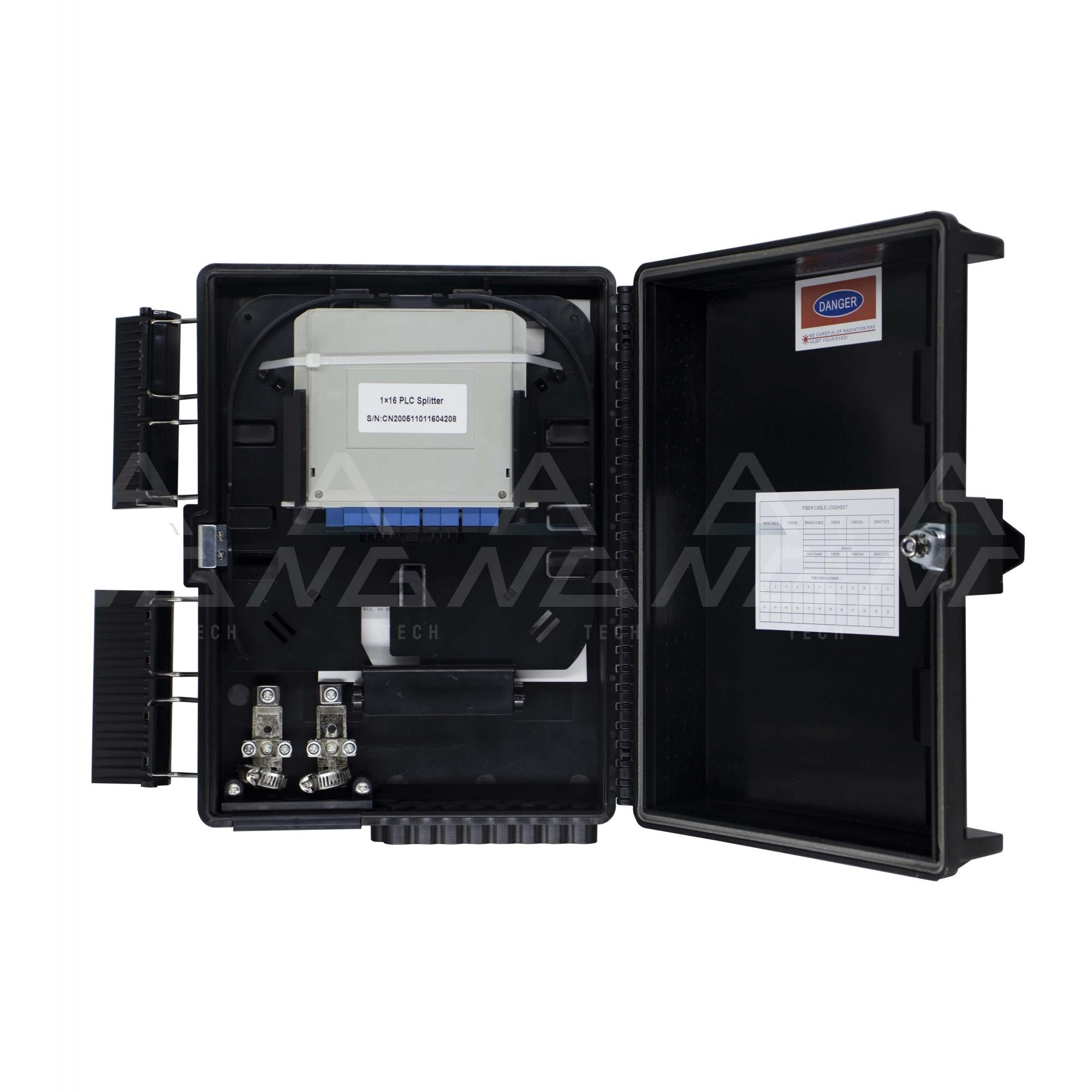 CTO Cassete 1x16 upc - Caixa de atendimento montada Modular com um splitter 1x16 sc/upc  e adaptadores