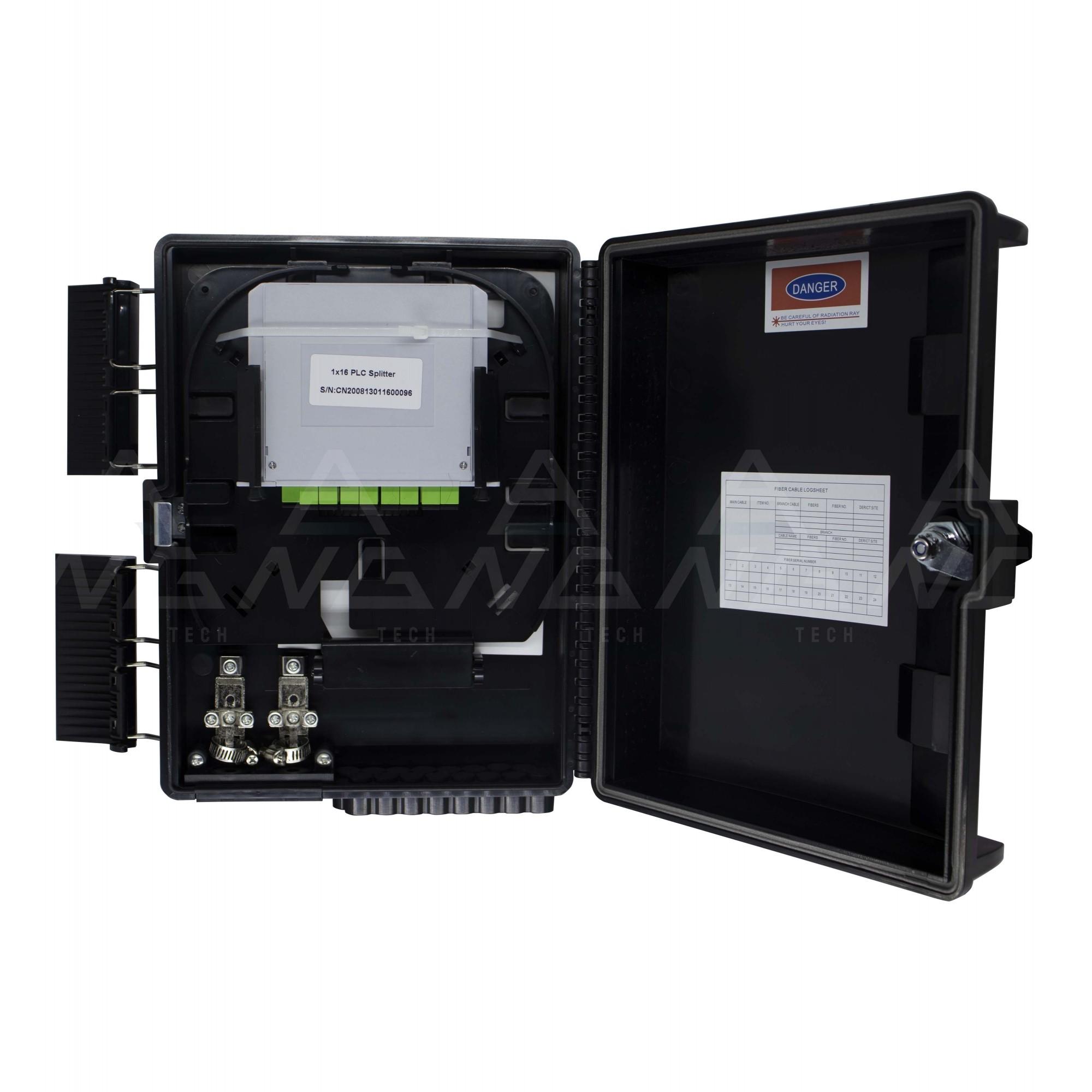 CTO Cassete 1x16apc - Caixa de atendimento montada Modular com um Splitter 1x16 SC/APC  e adaptadores
