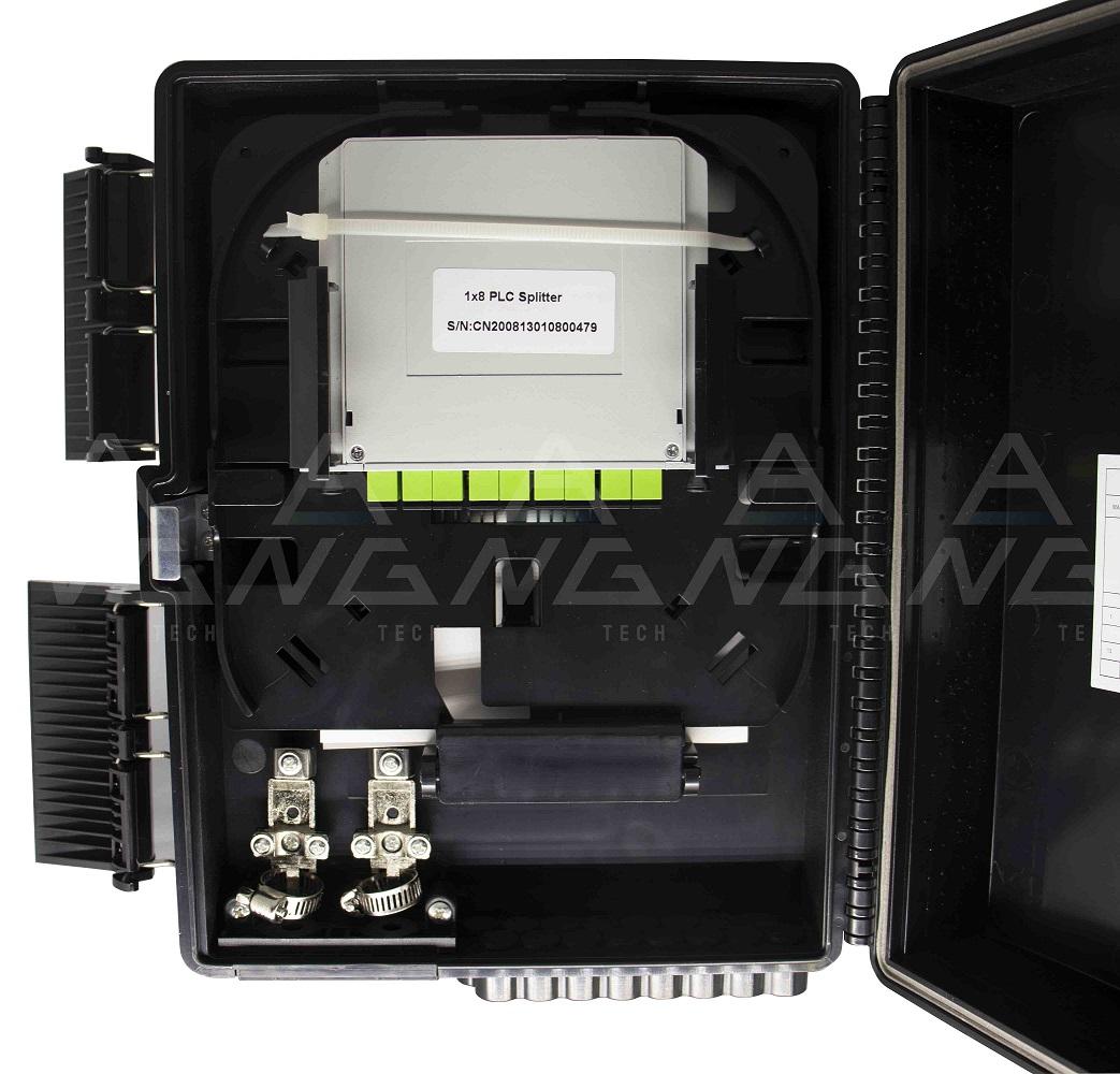 CTO Cassete 1x8 APC - Modular Montada com um splitter 1x8 sc/apc e adaptadores
