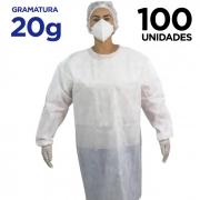 AVENTAL DESCARTÁVEL MANGA LONGA – Pacote com 100 aventais - gramatura 20g