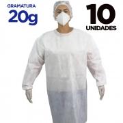AVENTAL DESCARTÁVEL MANGA LONGA – Pacote com 10 aventais - gramatura 20g
