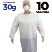 AVENTAL DESCARTÁVEL MANGA LONGA – Pacote com 10 aventais - gramatura 30g