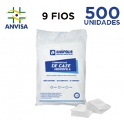 Compressa de Gaze Hidrófila Não Estéril 9 fios pacote com 500 unidades