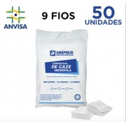 Compressa de Gaze Hidrófila Não Estéril 9 fios pacote com 50 unidades