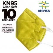 Máscara KN95 / N95 / PFF2 adulto amarela - pacote 10 unidades