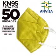 Máscara KN95 / N95 / PFF2 adulto amarela - caixa 50 unidades