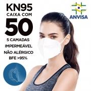 Máscara PFF2 / N95 / KN95 adulto branca - caixa 50 unidades 5 camadas meltblow BFE 98% + feltro de coton + tnt spunbond hospitalar hipoalergenico
