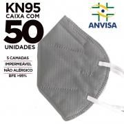 Máscara KN95 / N95 / PFF2 adulto cinza - caixa 50 unidades