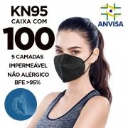 Máscara KN95 / N95 / PFF2 adulto preta - caixa 100 unidades 5 camadas meltblow BFE 98% + feltro de coton + tnt spunbond hospitalar hipoalergenico