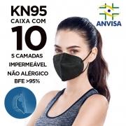 Máscara KN95 / N95 / PFF2 adulto preta - pacote 10 unidades