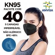 Máscara PFF2 / N95 / KN95 adulto preta - pacote 40 unidades 5 camadas meltblow BFE 98% + feltro de coton + tnt spunbond hospitalar hipoalergenico