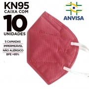 Máscara KN95 / N95 / PFF2 adulto rosa - pacote 10 unidades