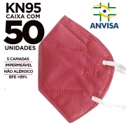 Máscara KN95 / N95 / PFF2 adulto rosa - caixa 50 unidades